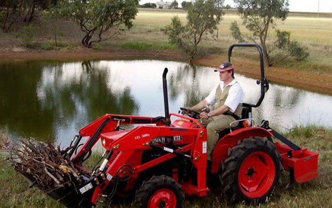 Stephen Winstone on his Kubota.