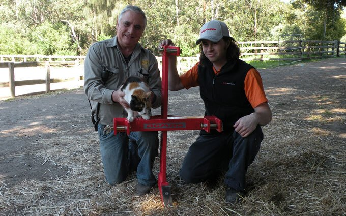 Collingwood Children's Farm Manager Alex Walker and SOTA Tractor's Tom Cooper with the donated ripper.
