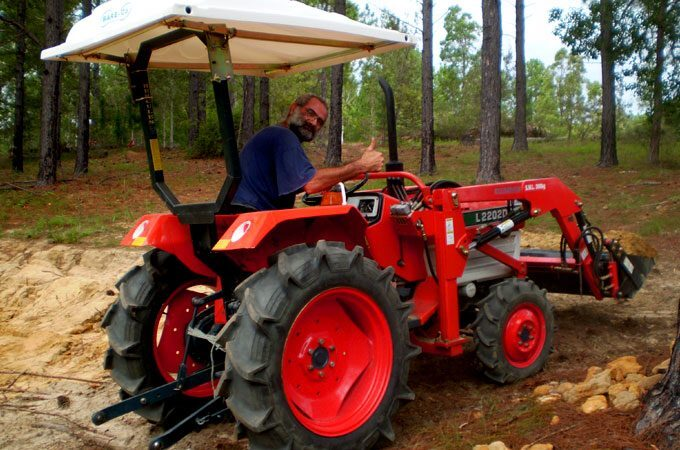Stephen Hart with his L2202DT 26hp diesel 4WD Kubota.