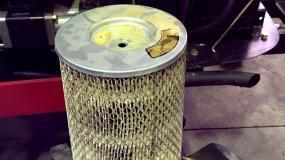 An air filter full of dust.