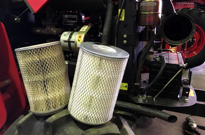 Comparison of a dirty vs clean air filter.