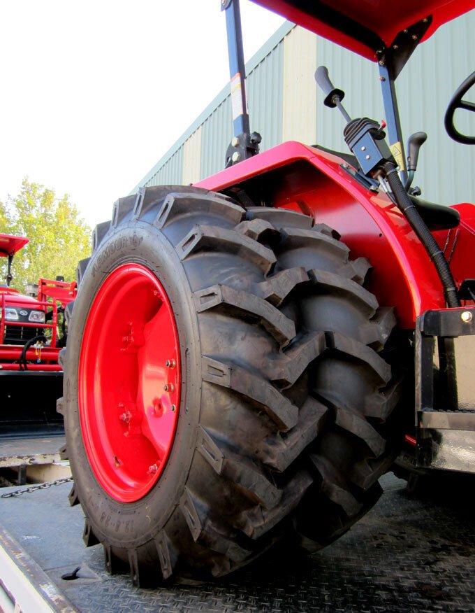 Duals set on narrow tyre bias.