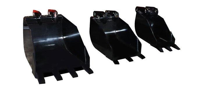 Optional AGMAX backhoe buckets.