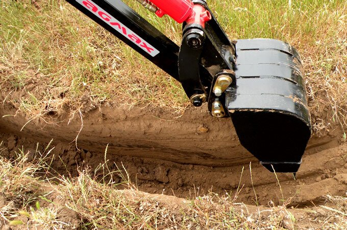 Need to dig a trench? The AGMAX backhoe is perfect for digging deep.