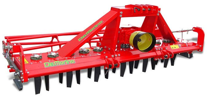 The Del Morino power harrow Rotex 190 with cage roller.