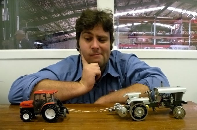 Mark Crakanthorp compares tractors in an agricultural desk battle.