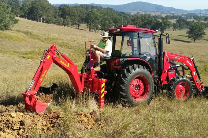 APOLLO 85hp Cabin tractor with Del Morino Res50 backhoe