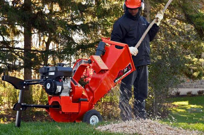 "The Wallenstein BXC32 hand cart wood chipper makes mulch from branches up to 3"" in diameter."