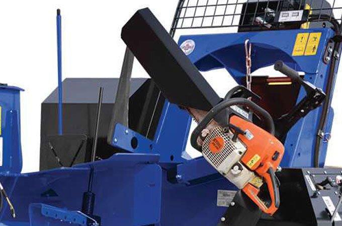 Optional pivoting chainsaw holder.