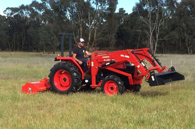 Remanufactured Kubota L4508DT with a Del Morino flail mower.