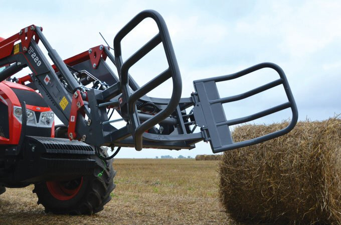 The advantage of a bale grab over a bale spike is that it contains the sides of the bale, providing additional protection for loosely held bales.