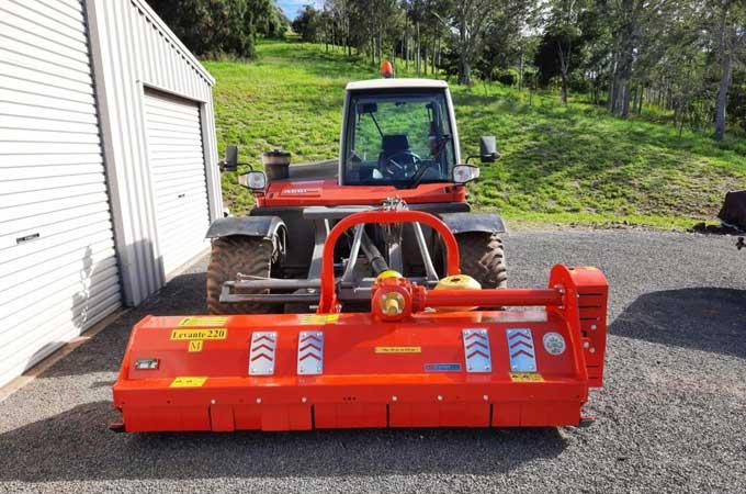 Levante 220 flail mower mounted on an AEBI TT270 in Dayboro, QLD.